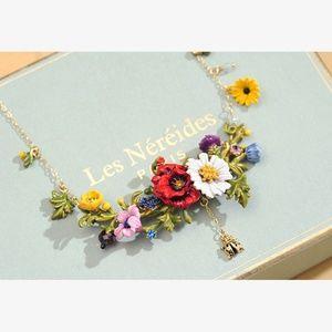 Les Néréides Floral Charm Enamel Necklace Big Size